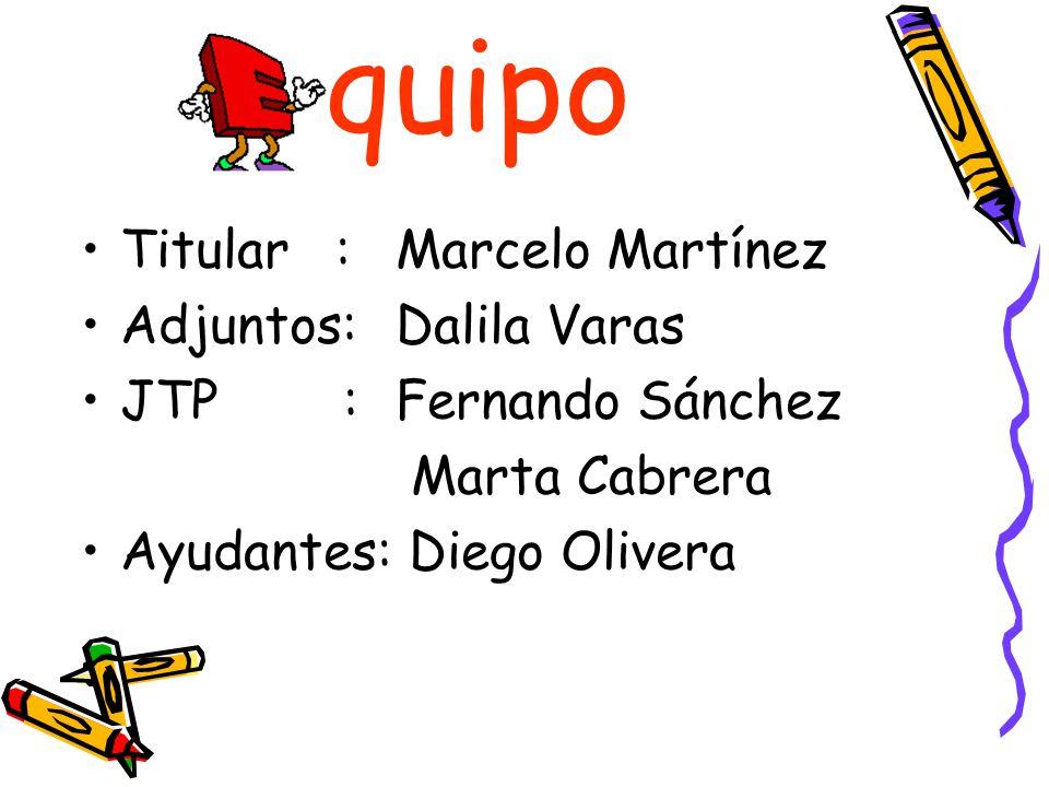 quipo Titular : Marcelo Martínez Adjuntos: Dalila Varas JTP : Fernando Sánchez Marta Cabrera Ayudantes: Diego Olivera
