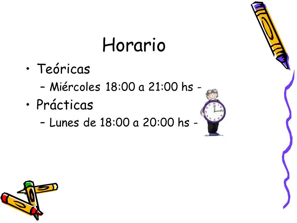 Horario Teóricas –Miércoles 18:00 a 21:00 hs - Prácticas –Lunes de 18:00 a 20:00 hs -
