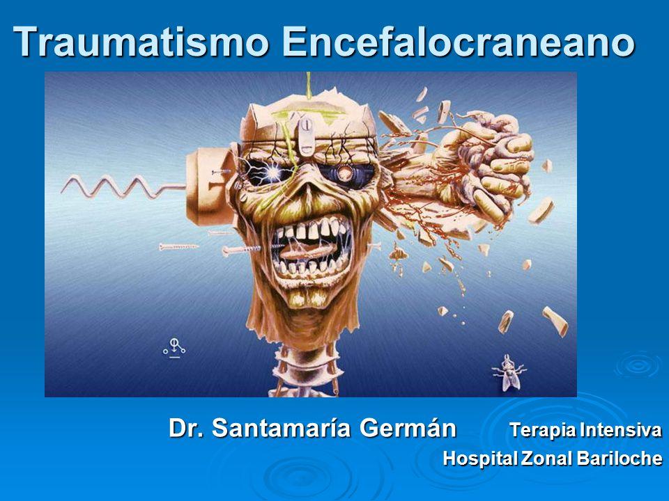 Tratamiento Todo TEC moderado debe recibir atención bajo normas ATLS Todo TEC moderado debe recibir atención bajo normas ATLS Reanimación inicial, evitar hipotensión e hipoxia, control de daño 2º Reanimación inicial, evitar hipotensión e hipoxia, control de daño 2º Tratamiento de lesiones extraneurológicas (duplican la mortalidad) Tratamiento de lesiones extraneurológicas (duplican la mortalidad) Derivación a centro de trauma Derivación a centro de trauma TAC ( 40 % patológicas) TAC ( 40 % patológicas)