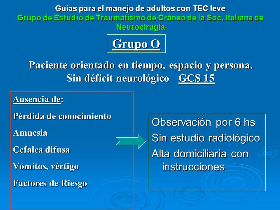 Guías para el manejo de adultos con TEC leve Grupo de Estudio de Traumatismo de Cráneo de la Soc. Italiana de Neurocirugía Observación por 6 hs Sin es