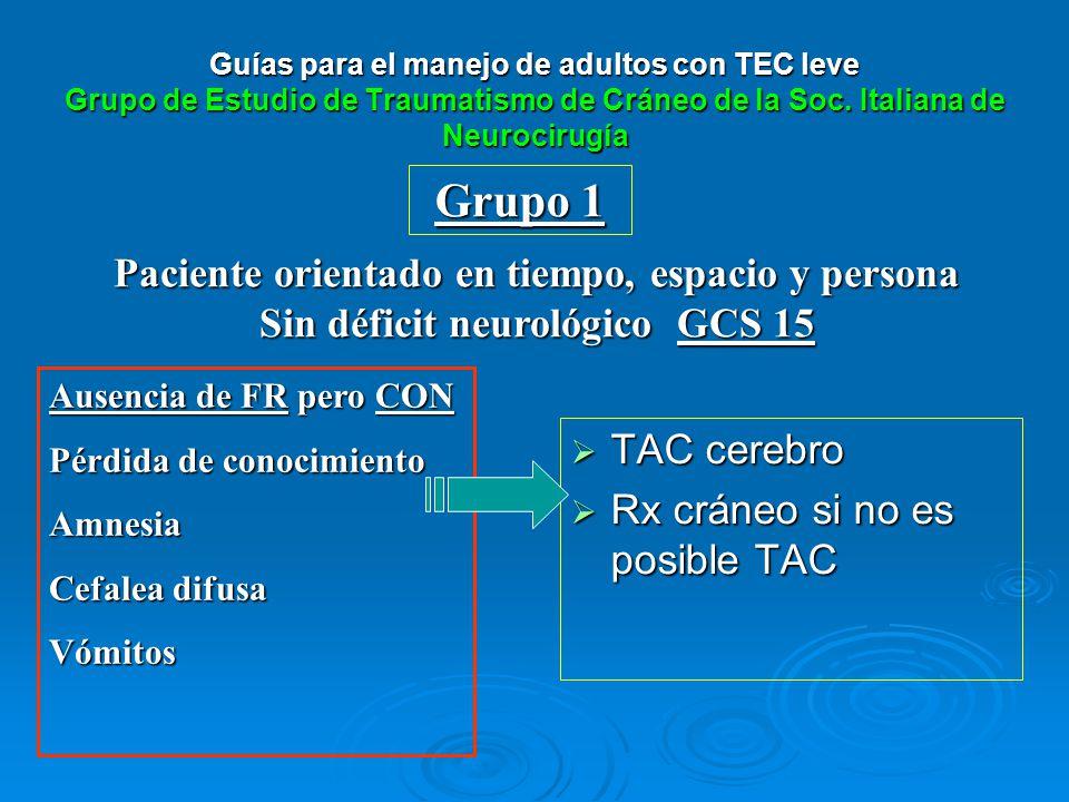 Grupo 1 Paciente orientado en tiempo, espacio y persona Sin déficit neurológico GCS 15 Ausencia de FR pero CON Pérdida de conocimiento Amnesia Cefalea