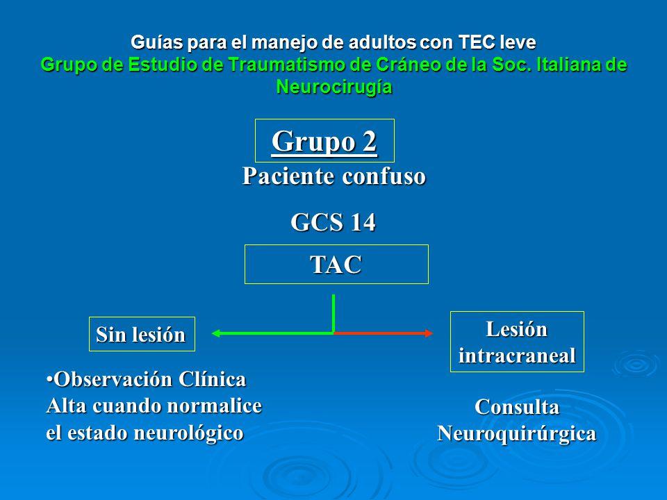 TAC Grupo 2 Paciente confuso GCS 14 Sin lesión Lesión intracraneal Observación Clínica Alta cuando normalice el estado neurológicoObservación Clínica