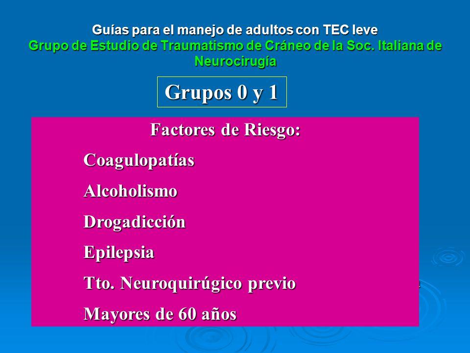 Grupos 0 y 1 TAC + Observación Clínica 24 horas Sin lesión Lesión intracraneal Repetir TAC en coagulopatías.Repetir TAC en coagulopatías. ALTAALTA Con