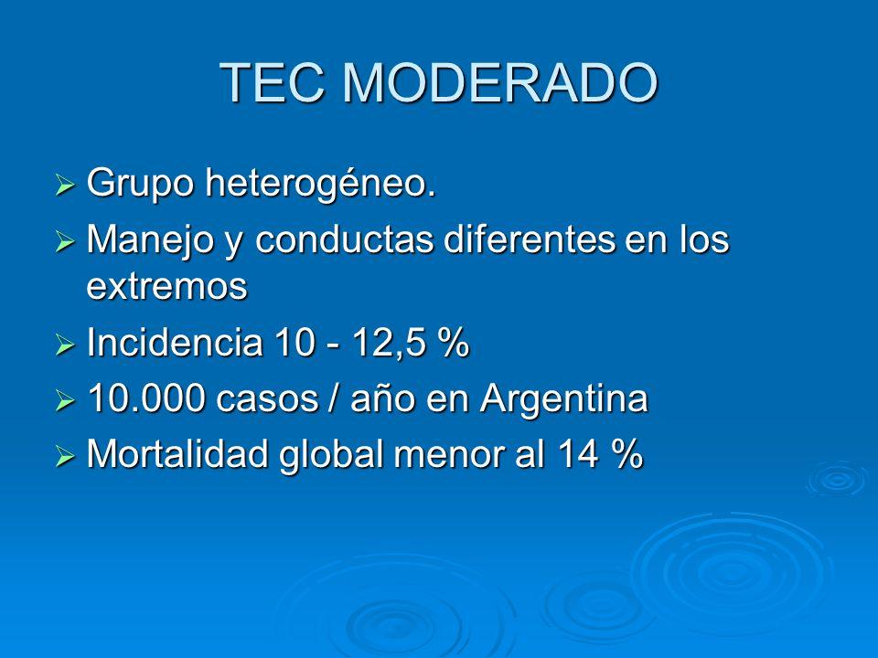 TEC MODERADO Grupo heterogéneo. Grupo heterogéneo. Manejo y conductas diferentes en los extremos Manejo y conductas diferentes en los extremos Inciden