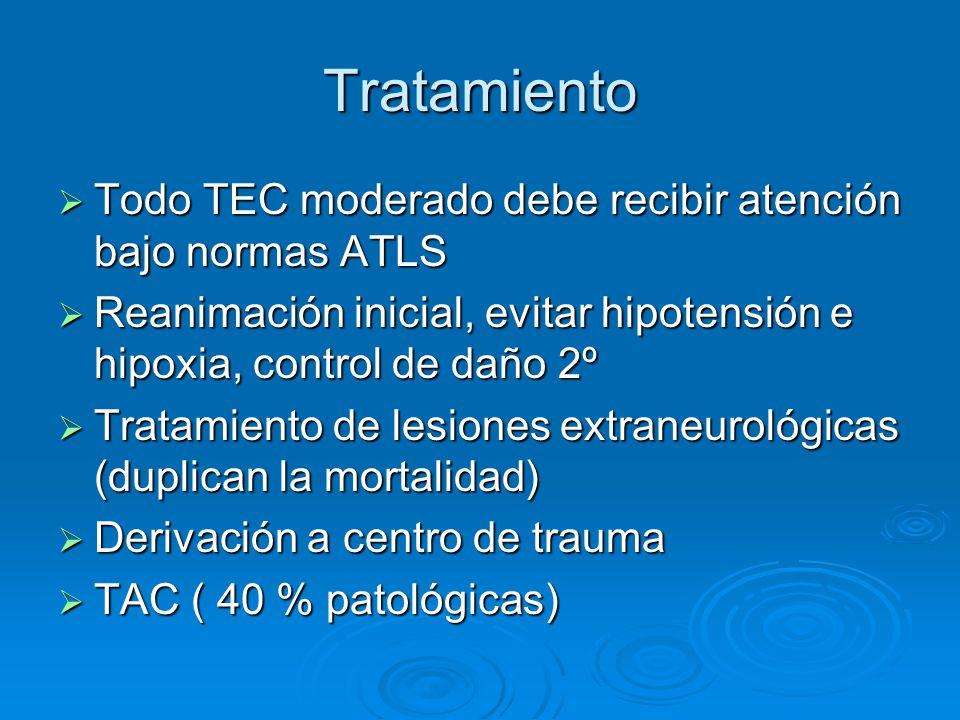 Tratamiento Todo TEC moderado debe recibir atención bajo normas ATLS Todo TEC moderado debe recibir atención bajo normas ATLS Reanimación inicial, evi