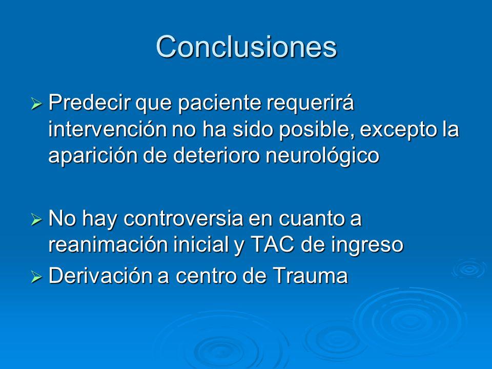 Conclusiones Predecir que paciente requerirá intervención no ha sido posible, excepto la aparición de deterioro neurológico Predecir que paciente requ