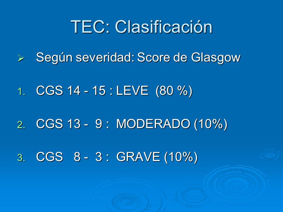 TEC: Clasificación Según severidad: Score de Glasgow Según severidad: Score de Glasgow 1. CGS 14 - 15 : LEVE (80 %) 2. CGS 13 - 9 : MODERADO (10%) 3.