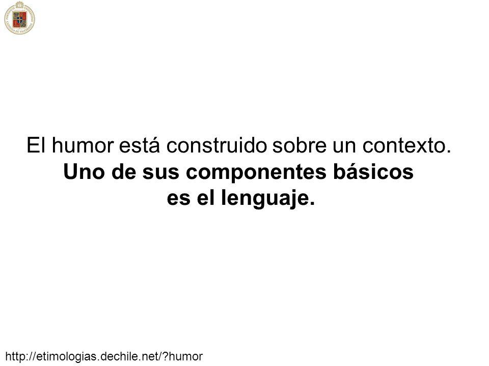 El humor está construido sobre un contexto. Uno de sus componentes básicos es el lenguaje. http://etimologias.dechile.net/?humor