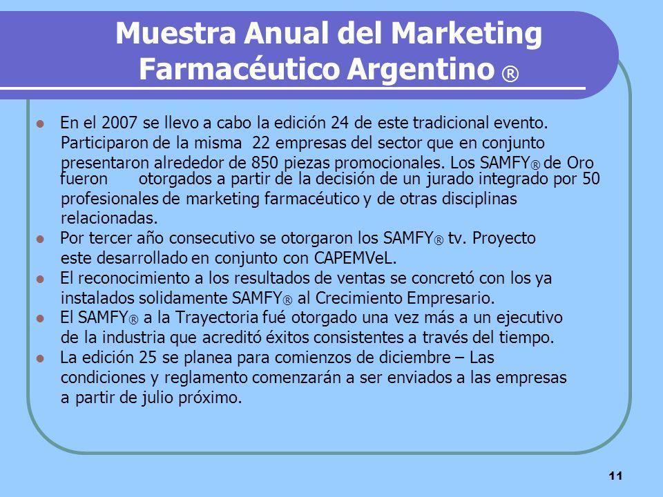 11 Muestra Anual del Marketing Farmacéutico Argentino ® En el 2007 se llevo a cabo la edición 24 de este tradicional evento. Participaron de la misma