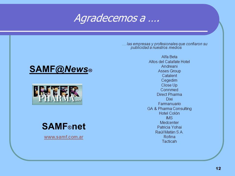 12 Agradecemos a …. … las empresas y profesionales que confiaron su publicidad a nuestros medios Alfa Beta Altos del Calafate Hotel Andreani Asses Gro