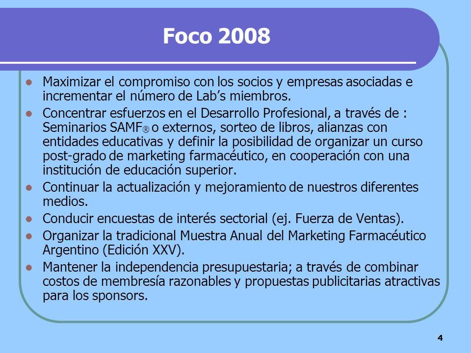 4 Foco 2008 Maximizar el compromiso con los socios y empresas asociadas e incrementar el número de Labs miembros. Concentrar esfuerzos en el Desarroll