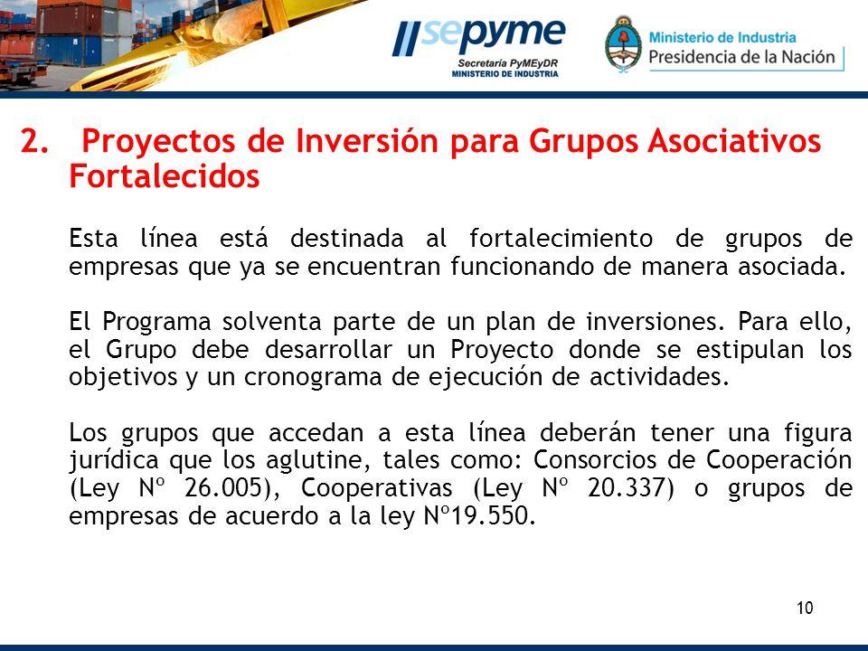 10 2. Proyectos de Inversión para Grupos Asociativos Fortalecidos Esta línea está destinada al fortalecimiento de grupos de empresas que ya se encuent