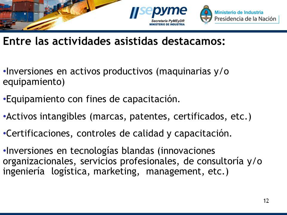 12 Entre las actividades asistidas destacamos: Inversiones en activos productivos (maquinarias y/o equipamiento) Equipamiento con fines de capacitació