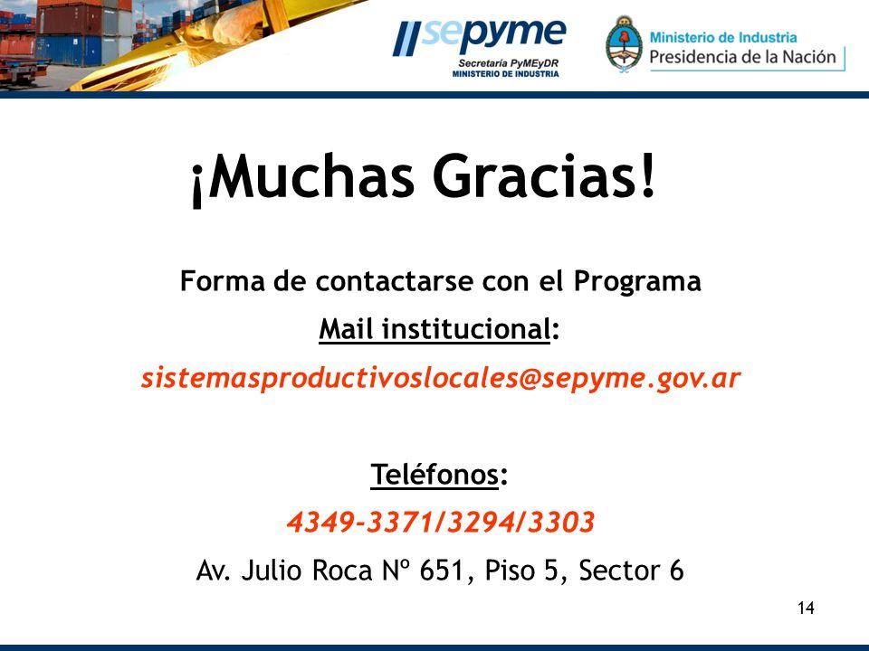 14 ¡Muchas Gracias! Forma de contactarse con el Programa Mail institucional: sistemasproductivoslocales@sepyme.gov.ar Teléfonos: 4349-3371/3294/3303 A