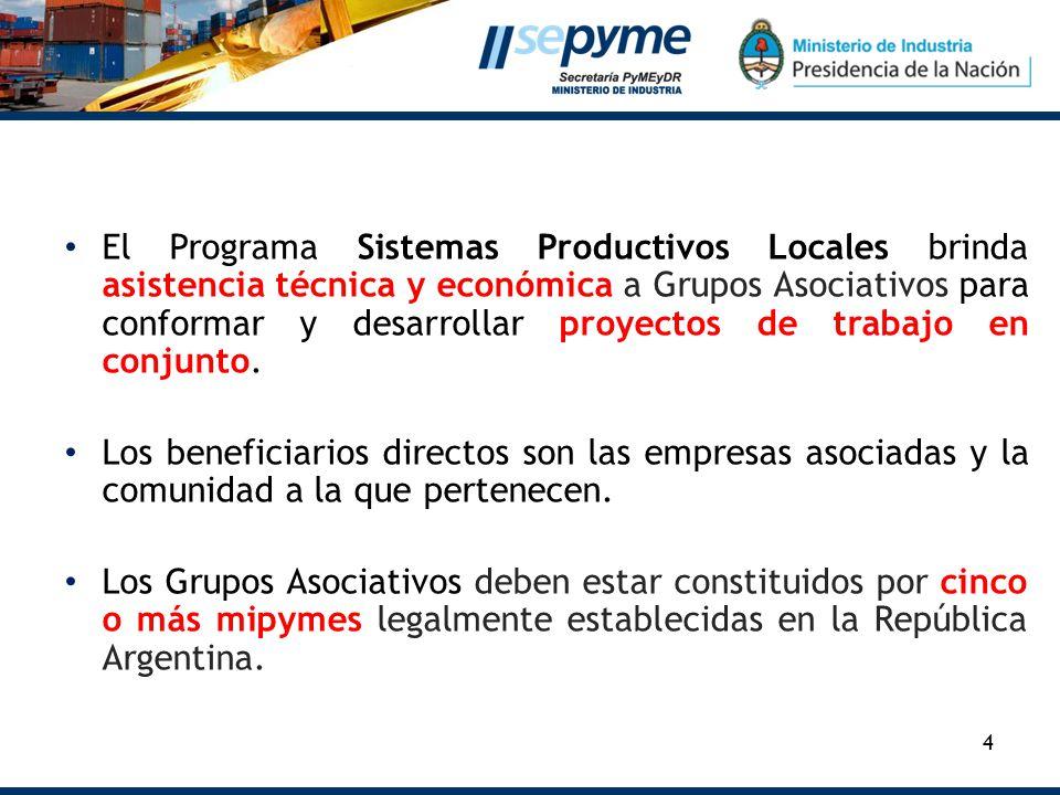 4 El Programa Sistemas Productivos Locales brinda asistencia técnica y económica a Grupos Asociativos para conformar y desarrollar proyectos de trabajo en conjunto.