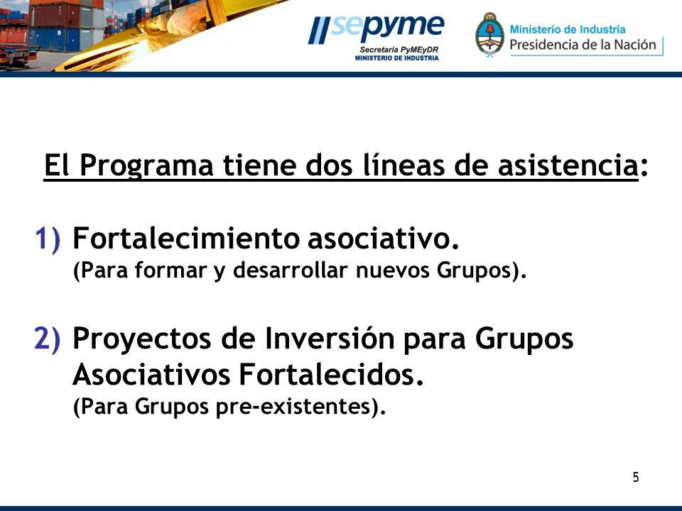 5 El Programa tiene dos líneas de asistencia: 1)Fortalecimiento asociativo. (Para formar y desarrollar nuevos Grupos). 2)Proyectos de Inversión para G