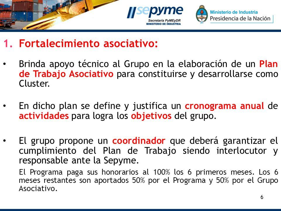 6 1.Fortalecimiento asociativo: Brinda apoyo técnico al Grupo en la elaboración de un Plan de Trabajo Asociativo para constituirse y desarrollarse como Cluster.
