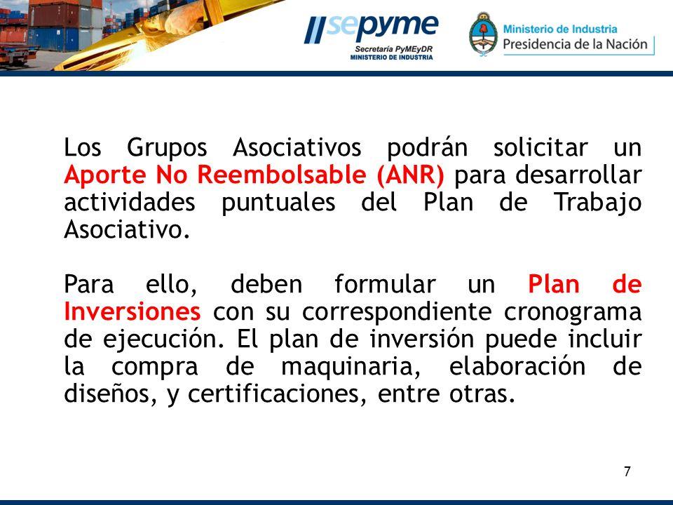 7 Los Grupos Asociativos podrán solicitar un Aporte No Reembolsable (ANR) para desarrollar actividades puntuales del Plan de Trabajo Asociativo. Para