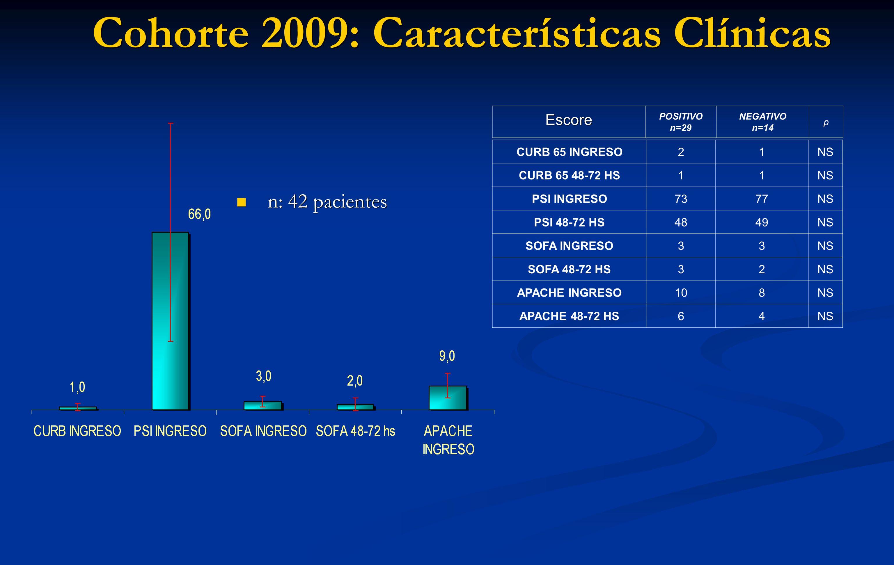Cohorte 2009: Características Clínicas n: 42 pacientes n: 42 pacientesEscore POSITIVO n=29 NEGATIVO n=14 p CURB 65 INGRESO21NS CURB 65 48-72 HS11NS PS