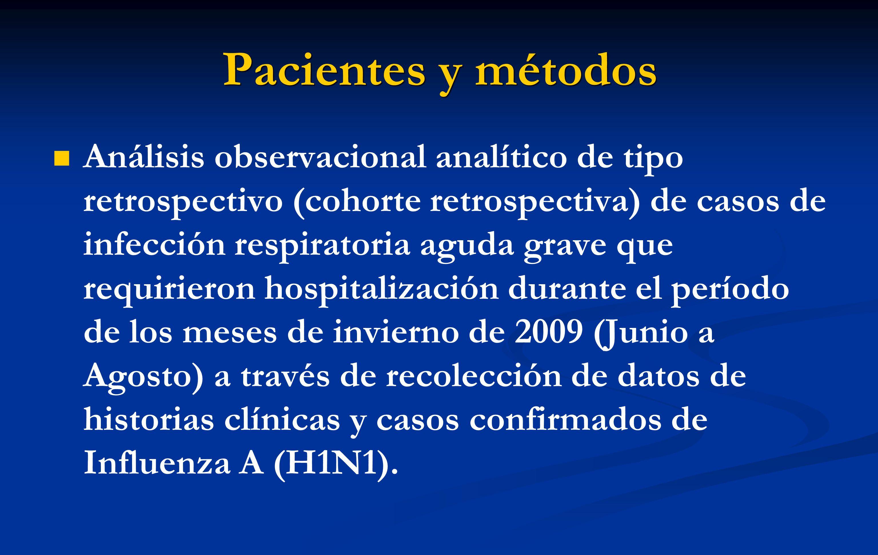 Pacientes y métodos Análisis observacional analítico de tipo retrospectivo (cohorte retrospectiva) de casos de infección respiratoria aguda grave que