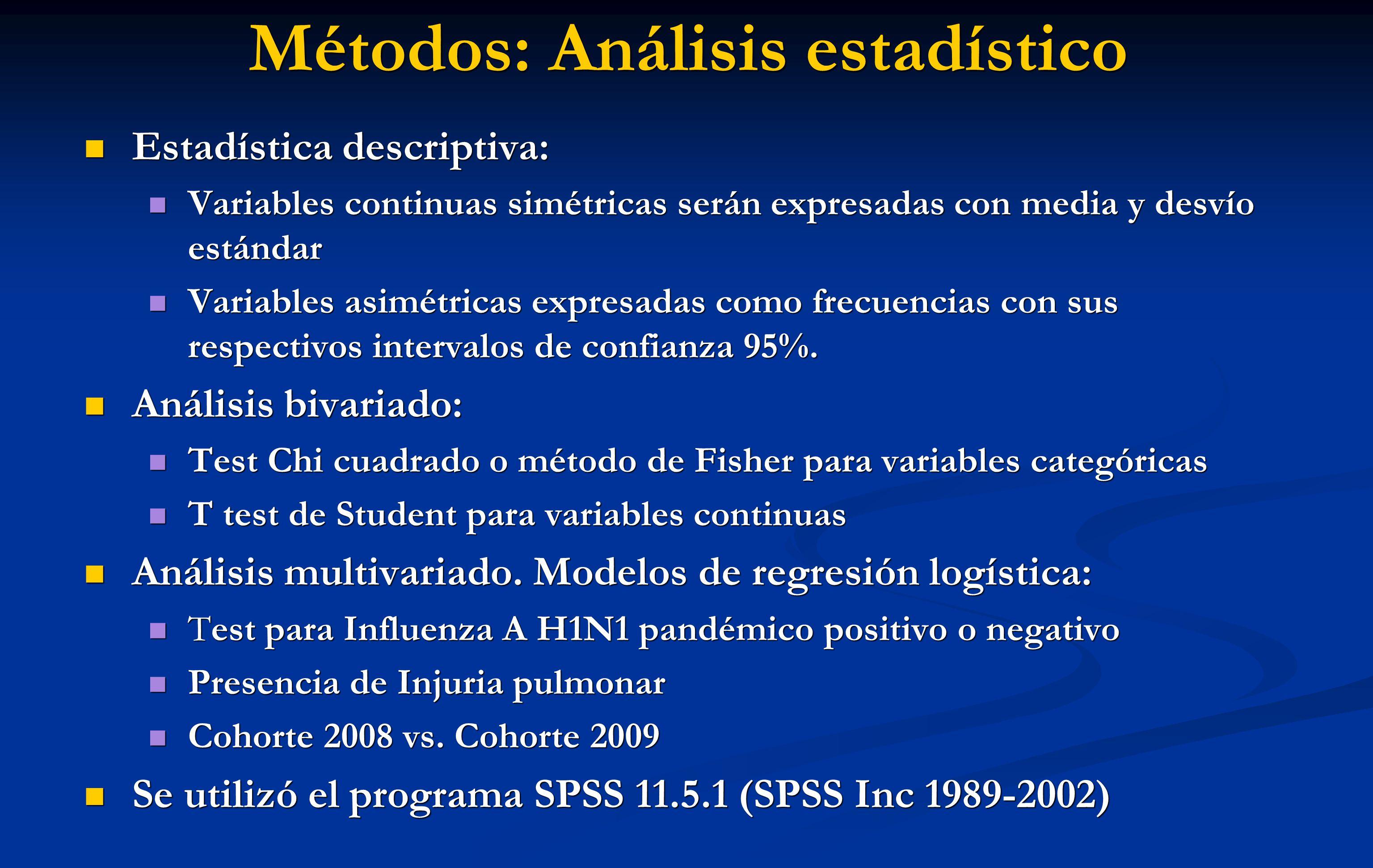 Métodos: Análisis estadístico Estadística descriptiva: Estadística descriptiva: Variables continuas simétricas serán expresadas con media y desvío est