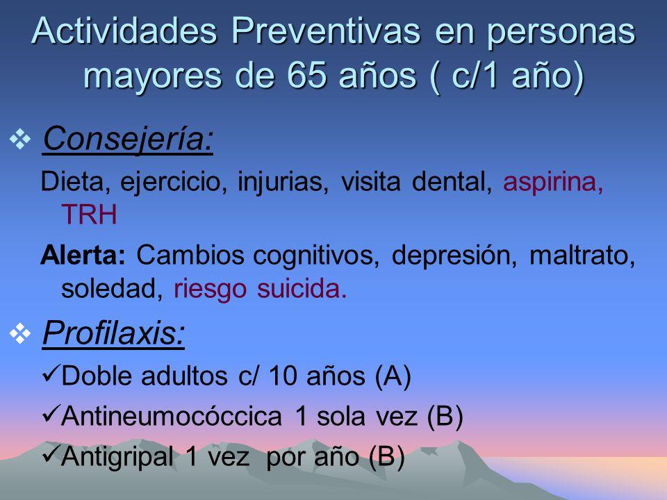Actividades Preventivas en personas mayores de 65 años ( c/1 año) Consejería: Dieta, ejercicio, injurias, visita dental, aspirina, TRH Alerta: Cambios cognitivos, depresión, maltrato, soledad, riesgo suicida.