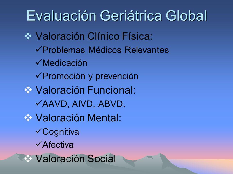 Evaluación Geriátrica Global No hay suficiente evidencia para recomendarla sistemáticamente.