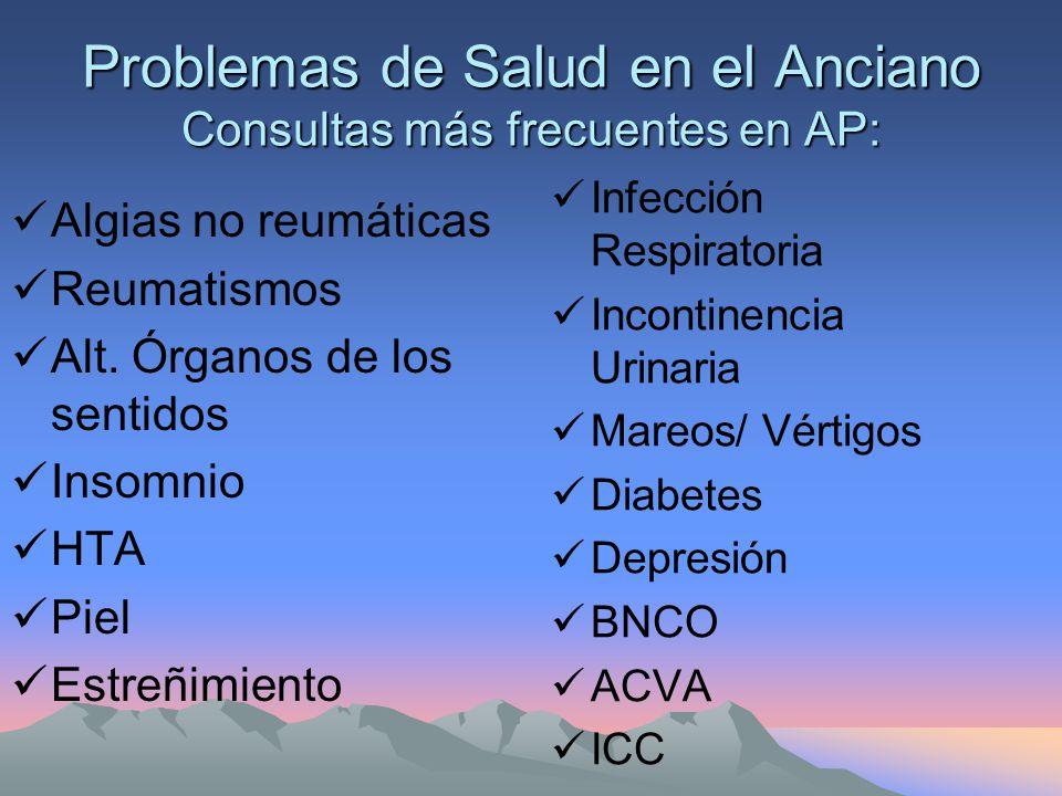 Problemas de Salud en el Anciano Consultas más frecuentes en AP: Algias no reumáticas Reumatismos Alt.