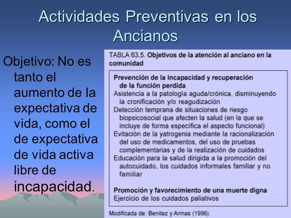 Actividades Preventivas en los Ancianos Actividades Preventivas en los Ancianos Objetivo: No es tanto el aumento de la expectativa de vida, como el de expectativa de vida activa libre de incapacidad.