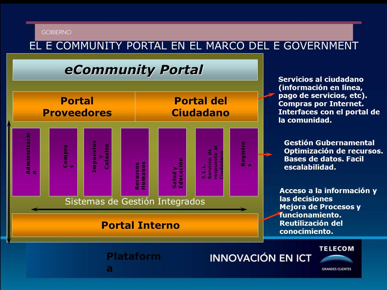 EL E COMMUNITY PORTAL EN EL MARCO DEL E GOVERNMENT Servicios al ciudadano (información en línea, pago de servicios, etc).