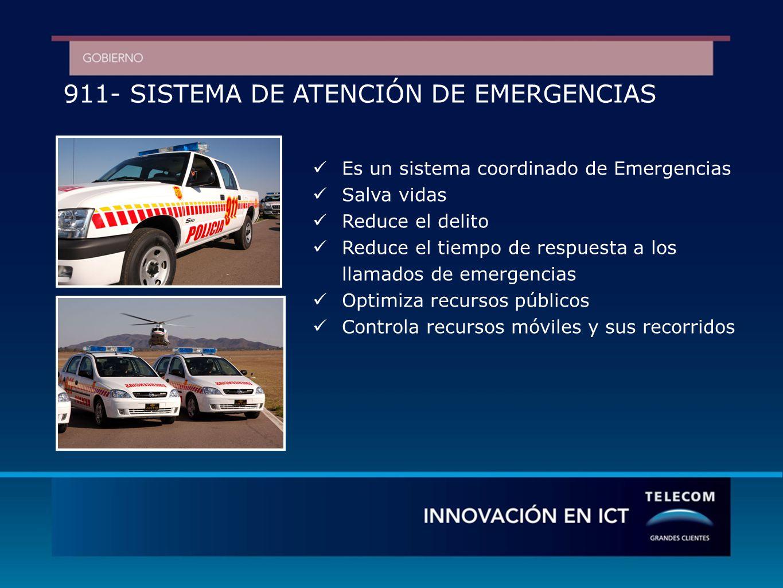 911- SISTEMA DE ATENCIÓN DE EMERGENCIAS Es un sistema coordinado de Emergencias Salva vidas Reduce el delito Reduce el tiempo de respuesta a los llamados de emergencias Optimiza recursos públicos Controla recursos móviles y sus recorridos
