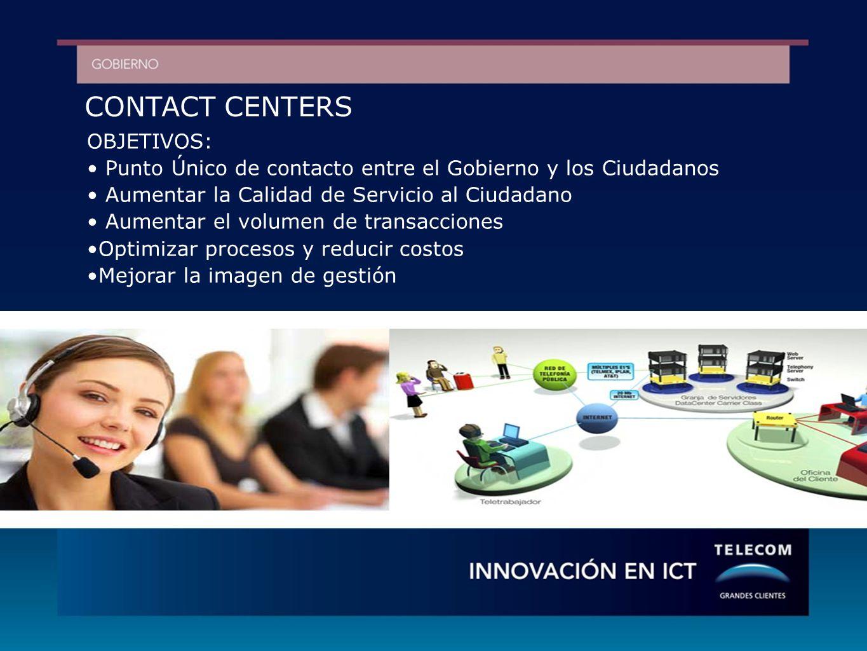 CONTACT CENTERS OBJETIVOS: Punto Único de contacto entre el Gobierno y los Ciudadanos Aumentar la Calidad de Servicio al Ciudadano Aumentar el volumen de transacciones Optimizar procesos y reducir costos Mejorar la imagen de gestión
