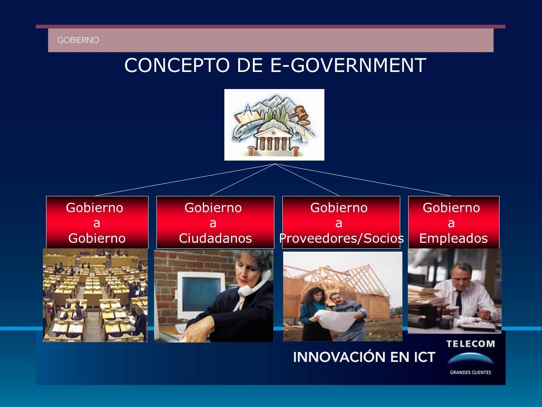 CONCEPTO DE E-GOVERNMENT Gobierno a Empleados Gobierno a Proveedores/Socios Gobierno a Gobierno a Ciudadanos