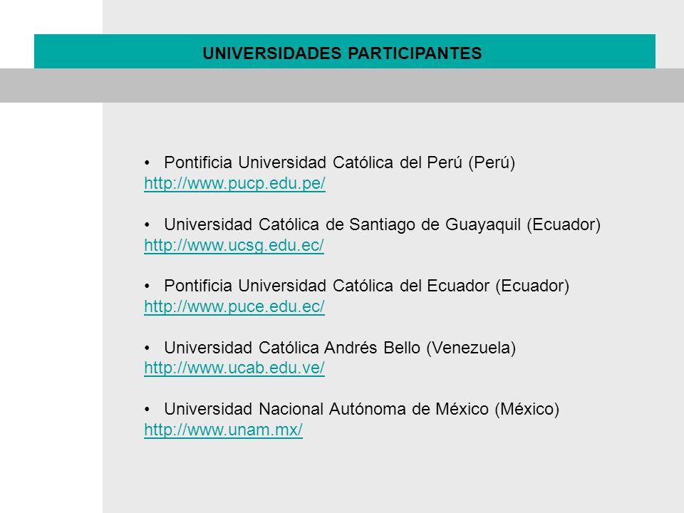 Pontificia Universidad Católica del Perú (Perú) http://www.pucp.edu.pe/ Universidad Católica de Santiago de Guayaquil (Ecuador) http://www.ucsg.edu.ec