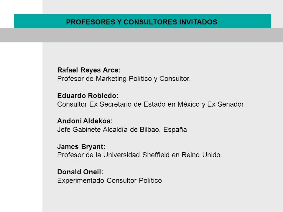 PROFESORES Y CONSULTORES INVITADOS Rafael Reyes Arce: Profesor de Marketing Político y Consultor. Eduardo Robledo: Consultor Ex Secretario de Estado e