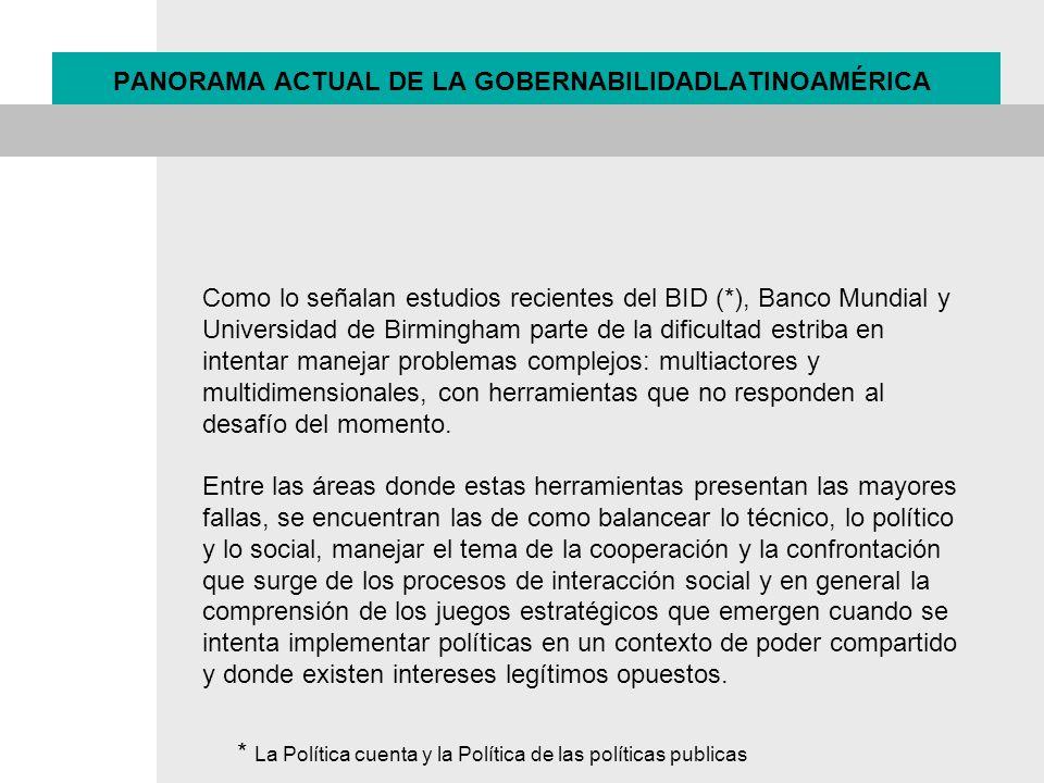 PANORAMA ACTUAL DE LA GOBERNABILIDADLATINOAMÉRICA Como lo señalan estudios recientes del BID (*), Banco Mundial y Universidad de Birmingham parte de l