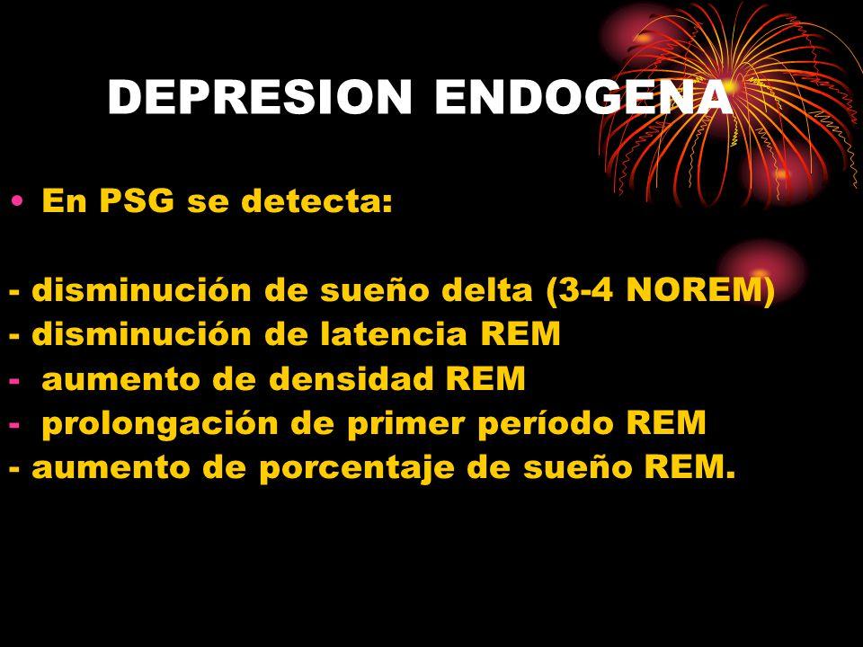 DEPRESION ENDOGENA En PSG se detecta: - disminución de sueño delta (3-4 NOREM) - disminución de latencia REM -aumento de densidad REM -prolongación de primer período REM - aumento de porcentaje de sueño REM.