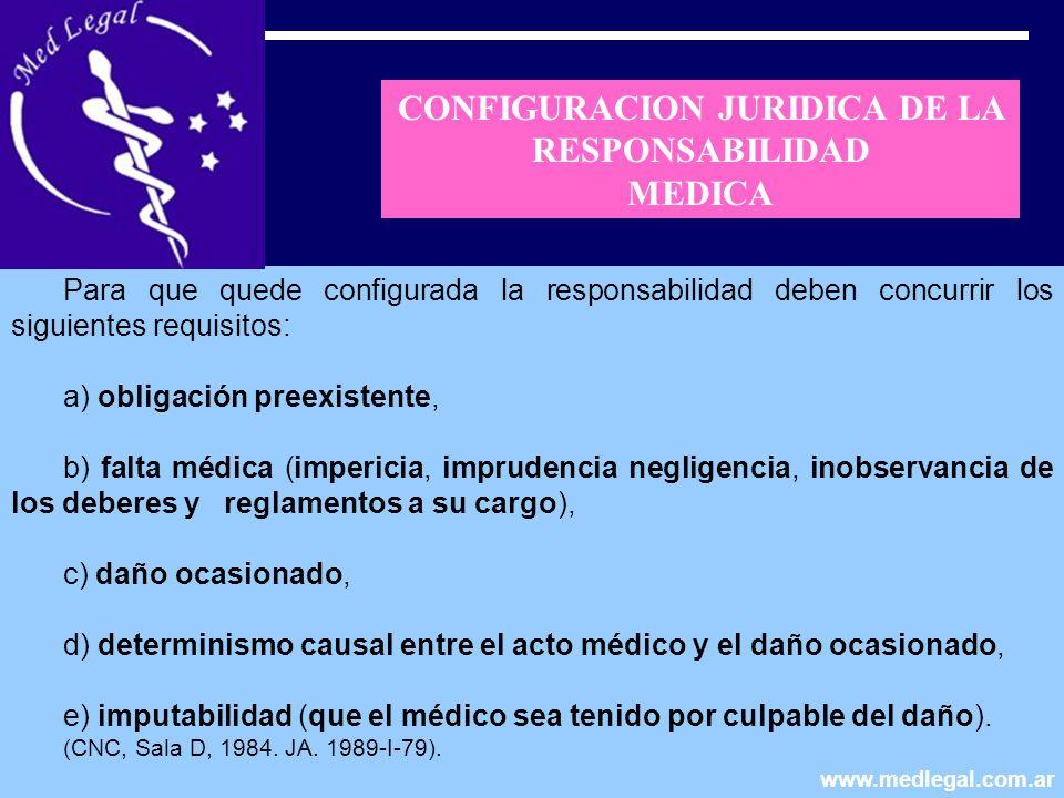 Para que quede configurada la responsabilidad deben concurrir los siguientes requisitos: a) obligación preexistente, b) falta médica (impericia, impru
