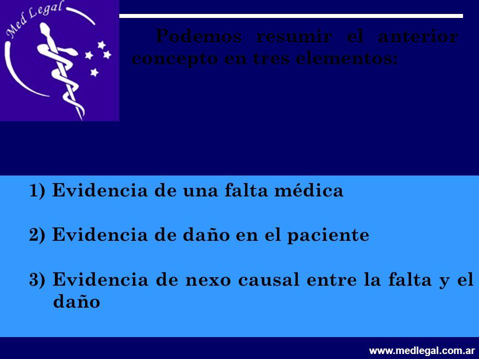 Podemos resumir el anterior concepto en tres elementos: 1) Evidencia de una falta médica 2) Evidencia de daño en el paciente 3) Evidencia de nexo caus