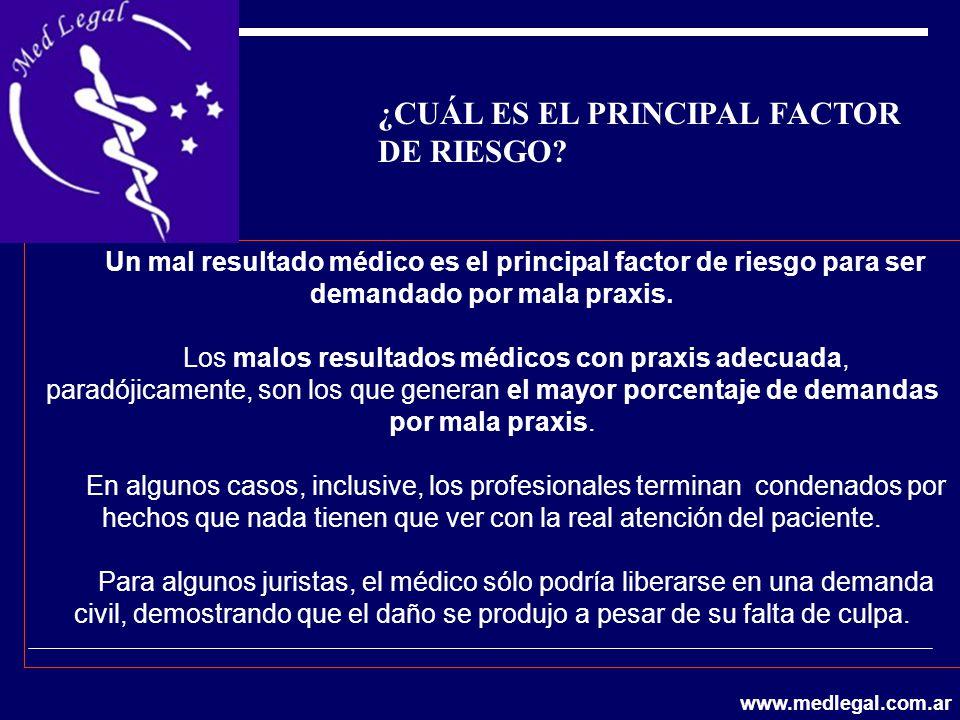 Un mal resultado médico es el principal factor de riesgo para ser demandado por mala praxis. Los malos resultados médicos con praxis adecuada, paradój