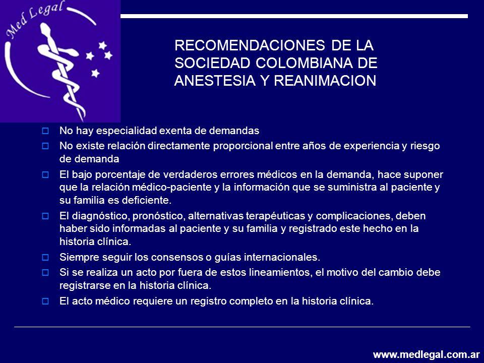 RECOMENDACIONES DE LA SOCIEDAD COLOMBIANA DE ANESTESIA Y REANIMACION No hay especialidad exenta de demandas No existe relación directamente proporcion