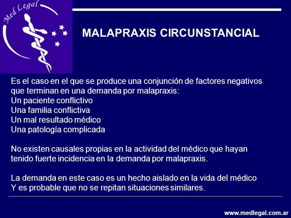 MALAPRAXIS CIRCUNSTANCIAL Es el caso en el que se produce una conjunción de factores negativos que terminan en una demanda por malapraxis: Un paciente