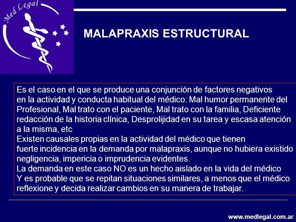 MALAPRAXIS ESTRUCTURAL Es el caso en el que se produce una conjunción de factores negativos en la actividad y conducta habitual del médico: Mal humor