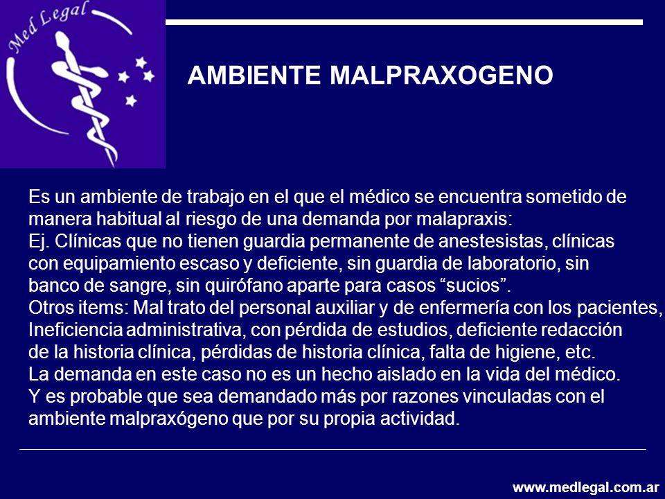 AMBIENTE MALPRAXOGENO Es un ambiente de trabajo en el que el médico se encuentra sometido de manera habitual al riesgo de una demanda por malapraxis: