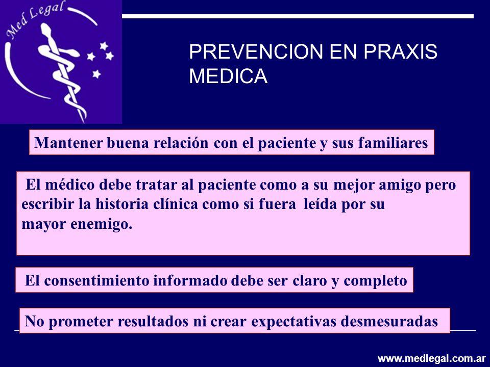 PREVENCION EN PRAXIS MEDICA El médico debe tratar al paciente como a su mejor amigo pero escribir la historia clínica como si fuera leída por su mayor
