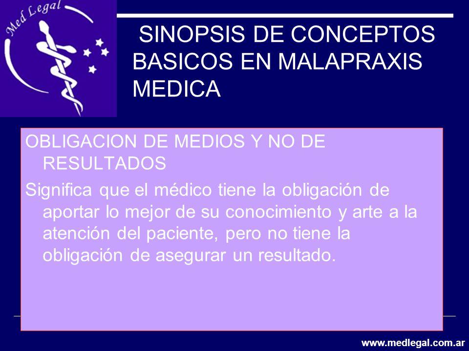 SINOPSIS DE CONCEPTOS BASICOS EN MALAPRAXIS MEDICA OBLIGACION DE MEDIOS Y NO DE RESULTADOS Significa que el médico tiene la obligación de aportar lo m