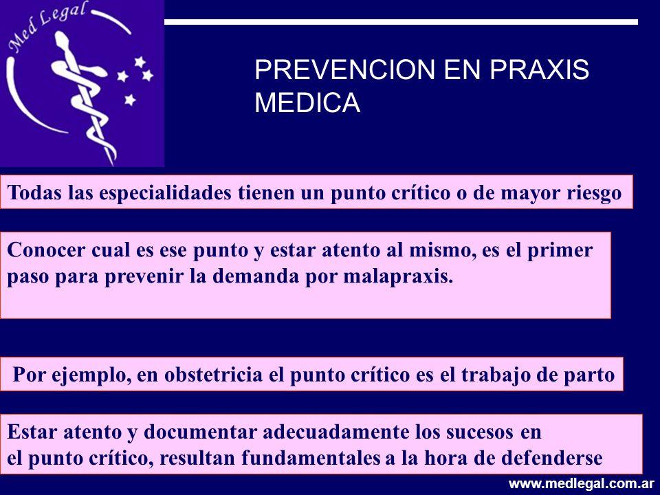 PREVENCION EN PRAXIS MEDICA Conocer cual es ese punto y estar atento al mismo, es el primer paso para prevenir la demanda por malapraxis. Por ejemplo,