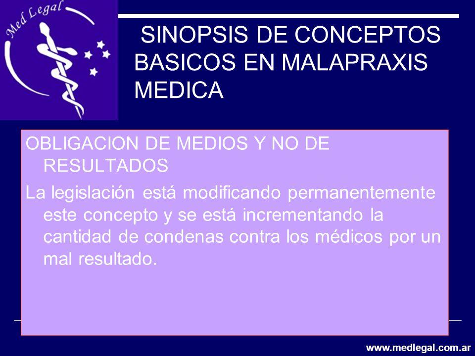 SINOPSIS DE CONCEPTOS BASICOS EN MALAPRAXIS MEDICA OBLIGACION DE MEDIOS Y NO DE RESULTADOS La legislación está modificando permanentemente este concep