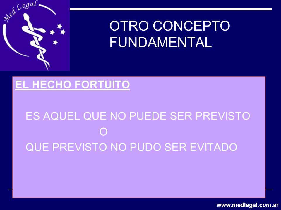 OTRO CONCEPTO FUNDAMENTAL EL HECHO FORTUITO ES AQUEL QUE NO PUEDE SER PREVISTO O QUE PREVISTO NO PUDO SER EVITADO www.medlegal.com.ar