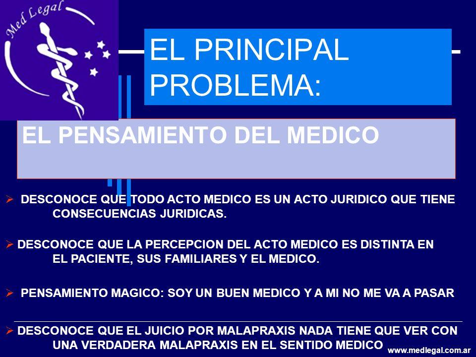 EL PRINCIPAL PROBLEMA: EL PENSAMIENTO DEL MEDICO DESCONOCE QUE TODO ACTO MEDICO ES UN ACTO JURIDICO QUE TIENE CONSECUENCIAS JURIDICAS. DESCONOCE QUE L